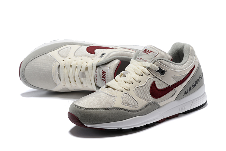 Men Nike Air Span II Grey Wine Red Shoes